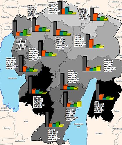 Karte der Wahlergebnisse 2014