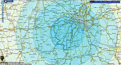 Reichweite Karte