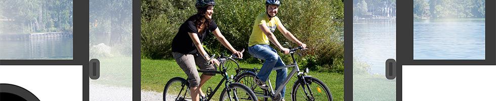 Radfahren und Busfahren