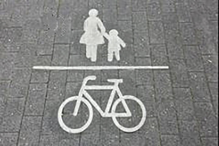 Fahrradpiktogramm auf der Fahrbahn