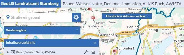 GeoLIS Kartenansicht geöffnete Anwendung