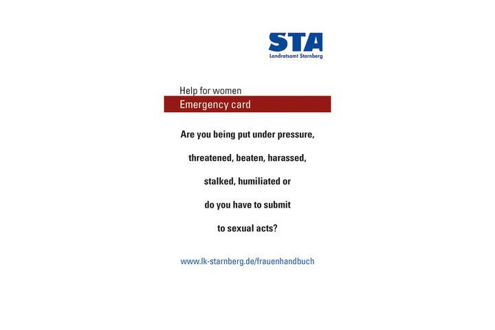 Notfallkarte für Frauen auf Englisch