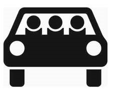 Sinnbild mehrfachbesetzter Personenkraftwagen (für die Durchführung von Verkehrsversuchen)
