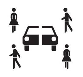 Sinnbild Carsharing (als Zusatzzeichen, das Carsharing-Fahrzeugen bevorrechtigtes Parken ermöglicht)