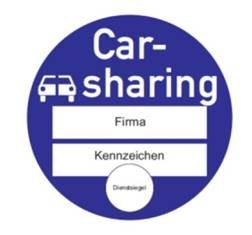 Sinnbild Plakette zur Kennzeichnung von Carsharing-Fahrzeugen (für professionelle Anbieter)