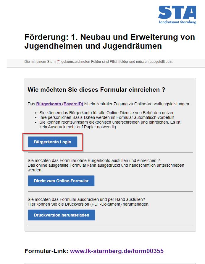 Online-Formular Bürgerkonto-Login