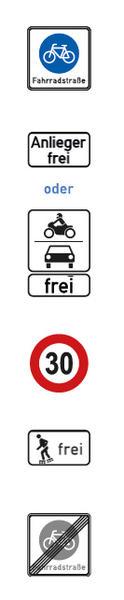 Fahrradstraße Straßenschilder