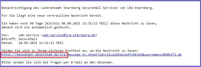 SecureMail Beispielnachricht