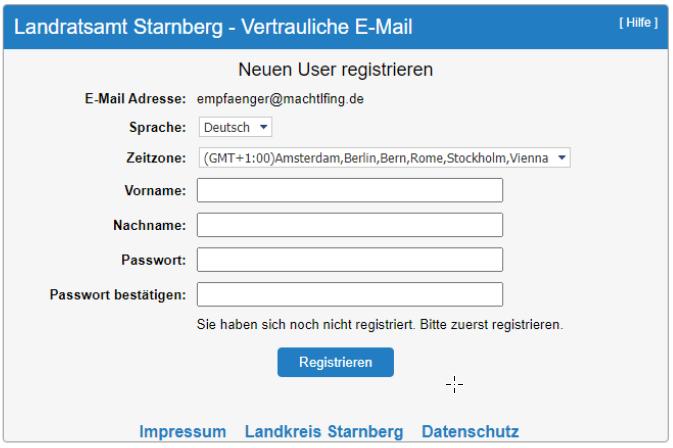 SecureMail User Registrierung
