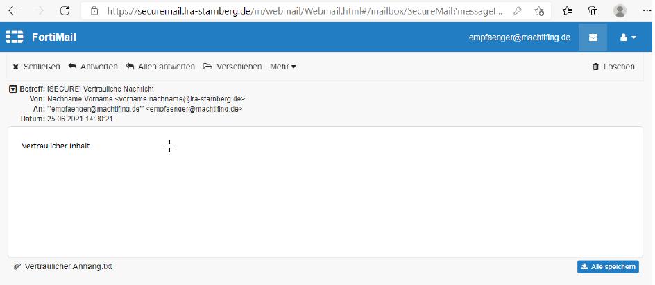 SecureMail Anzeige