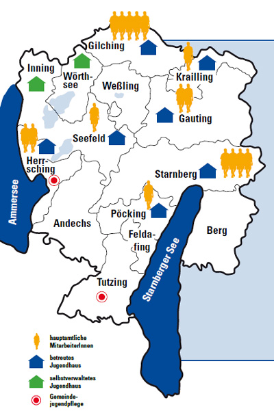 Landkreismap offene Jugendarbeit